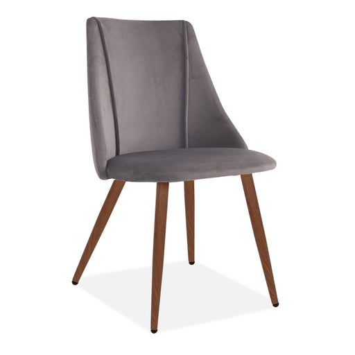 Lule Velvet Upholstered Vevlet Dining Chair, Deep Grey, Walnut Legs