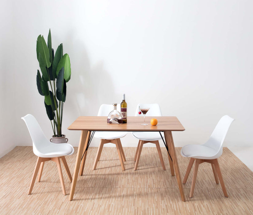 Mmilo 120 x 80cm Rectangular Dining (Oak Veneer Top) w 4x Mmilo Tulip Beech Legs Pyramid Dining Chairs
