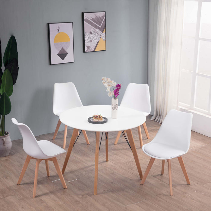 Mmilo 100cm Round Dining Table (White) with 4x Mmilo Tulip Beech Legs Pyramid Dining Chairs