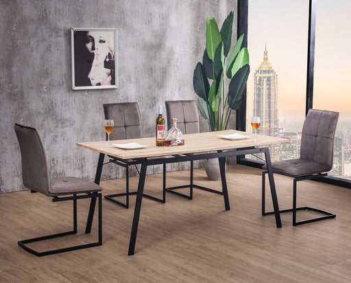 Mmilo Hover Tables with 4x Cantilever Upholstered Dining Chairs
