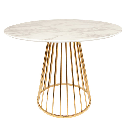 Mmilo 120cm Liverpool Marble Dining Table in White with Gold Chrome Legs
