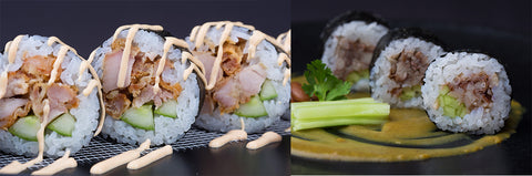 Chicken Tori Karage Kabayaki Sauce and Kidney Bean Curry Sauce Sushi Rolls by Sushi Junction