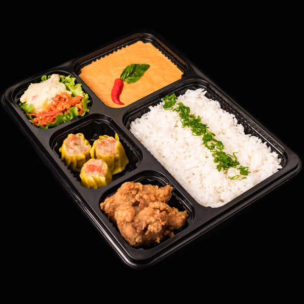 Salad, Dimsum & Curry Bento