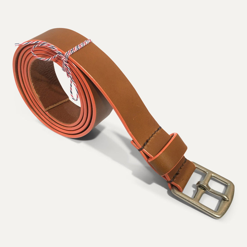Ceinture sur mesure HARNACHEUR whisky/orange - Grand Rue - Made in France