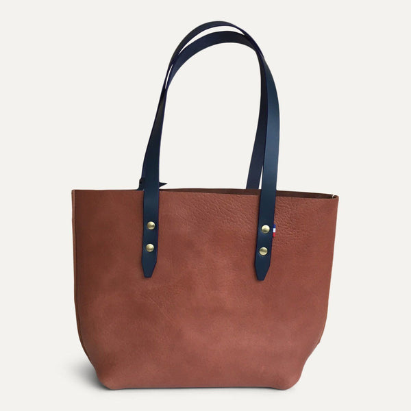 HAND-SEWED LEATHER SHOPPING BAG - Grand Rue - Made in France