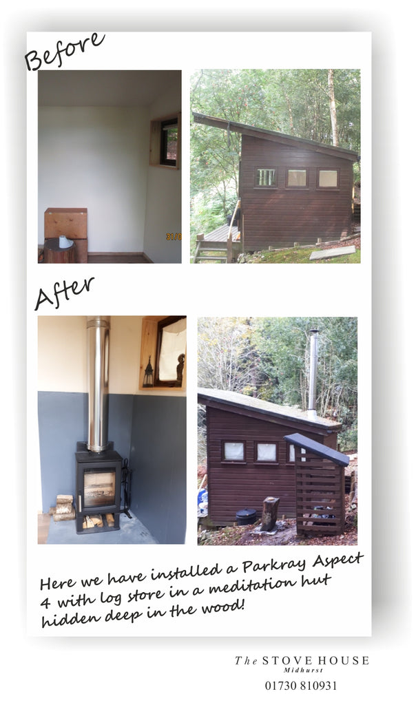 Parkray Aspect 4 Woodburning Stove Supplied and Installed In a Meditation Hut