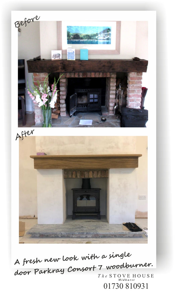 Parkray Consort 7 Woodburning Stove, Before & After Installation Pictures
