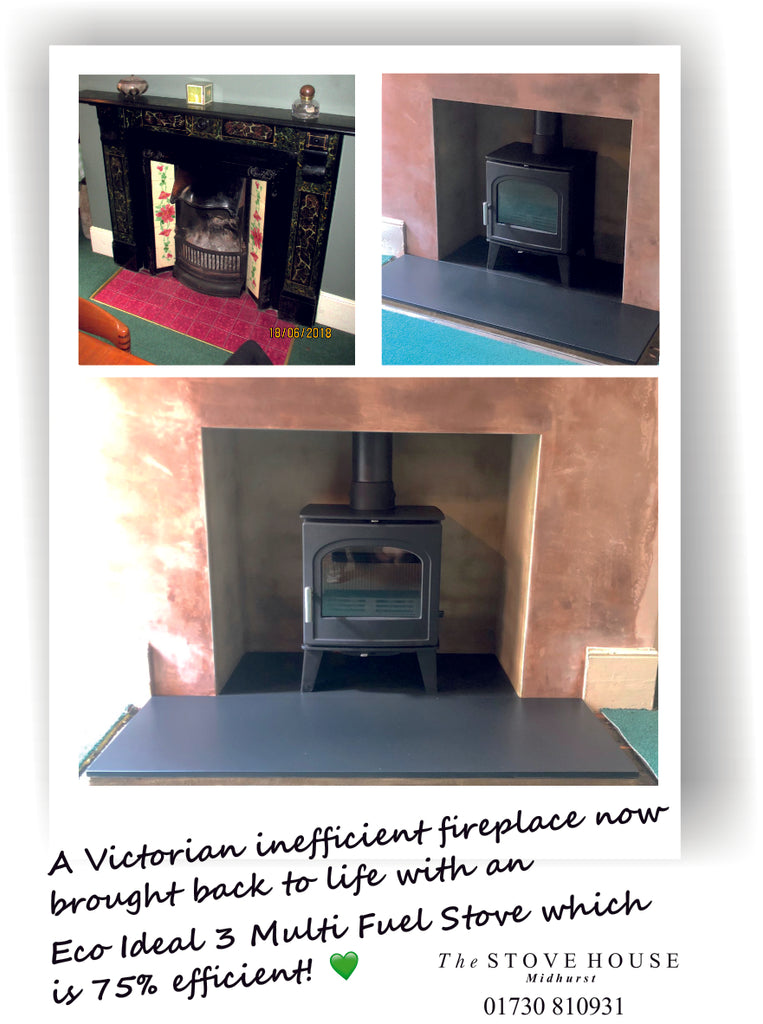 Victorian Fireplace Transformed with an Eco Ideal 3 Stove Supplied and Installed by The Stove House in Midhurst Nr Chichester and Haslemere 01730 810931