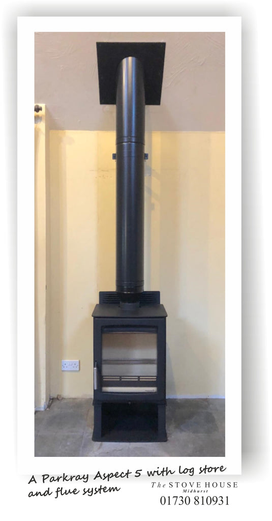 Parkray Aspect 5 Log Store Woodburning Stove with Black Flue System