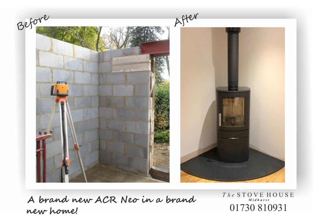 ACR Neo Stove With Black Chimney Flue System & Quadrant Hearth Supplied and installed by The Stove House