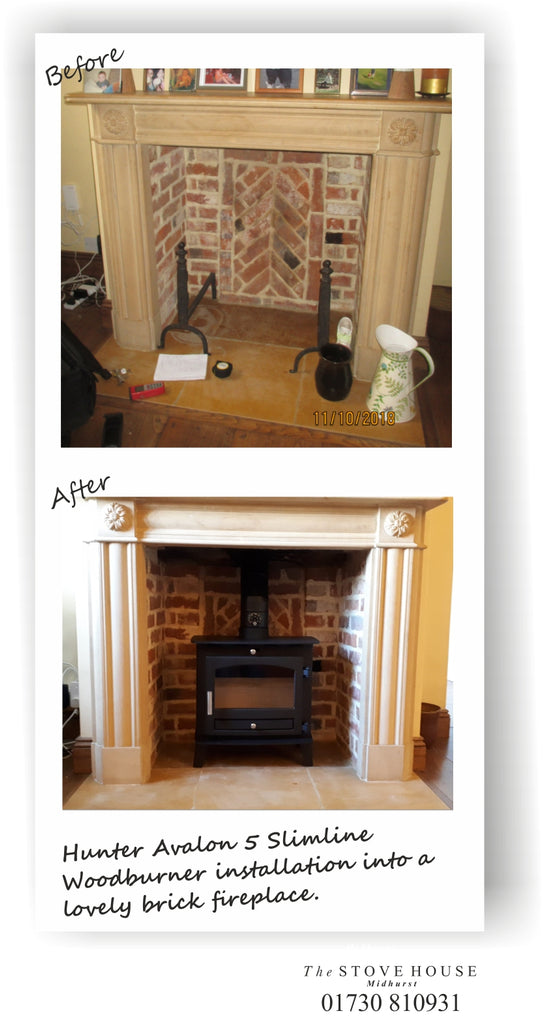 Hunter Avalon 5 Slimline Stove Supplied and installed by The Stove House, between Chichester and Haslemere. 01730 810931