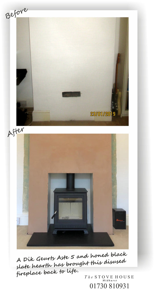 Disused fireplace opened up and a Dik Geurts Aste 5 woodburner installed