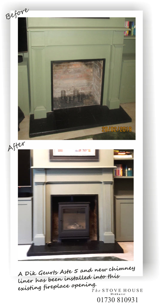Another Dik Geurts Aste 5 Low wood burning stove installation - what a transformation!