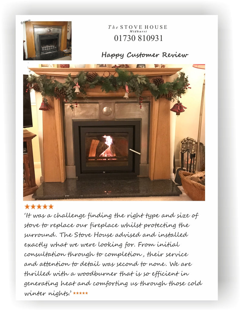 Jetmaster 60i Inset Wood Stove With Wooden Fireplace Surround Dressed Ready For Christmas