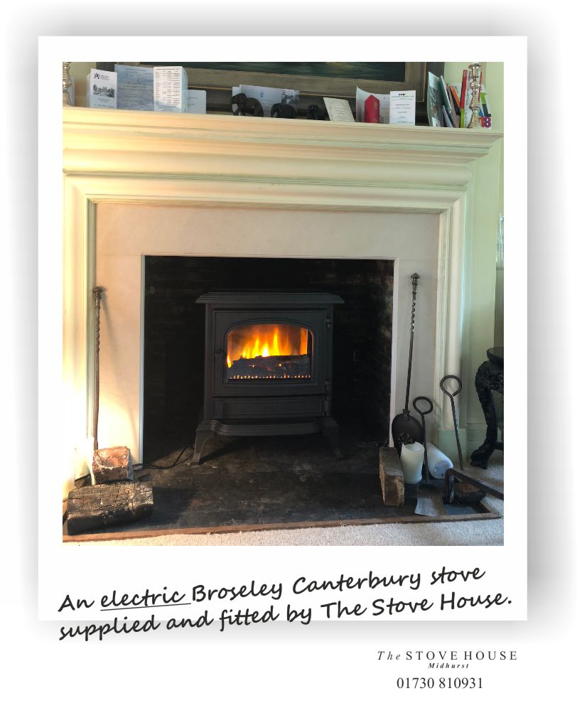 Broseley Canterbury Cast Iron Electric Stove Supplied and installed by The Stove House, between Chichester and Haslemere. 01730 810931
