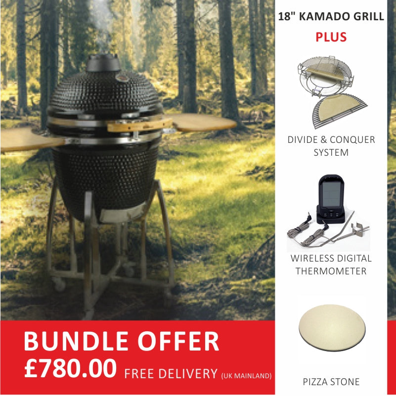 "18"" Ceramic Black Kamado Grill Bundle with Accessories"