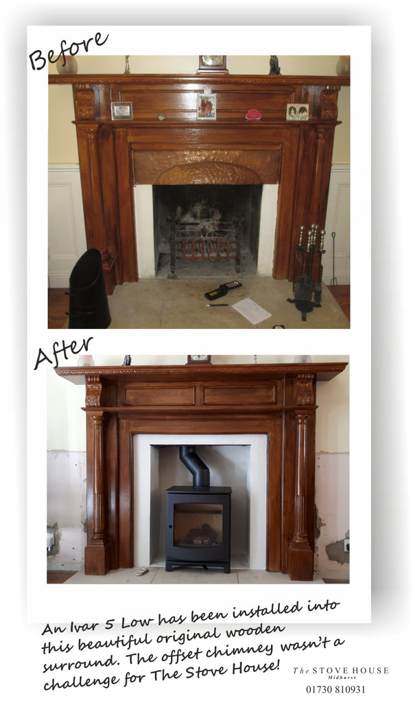 Dik Geurts Ivar 5 Low Woodburning Stove in an amazing old fireplace surround. Before & After shots!