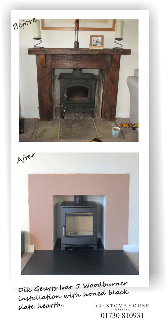 Dik Geurts Ivar 5 Low Woodburning Stove Supplied and installed by The Stove House, between Chichester and Haslemere. 01730 810931