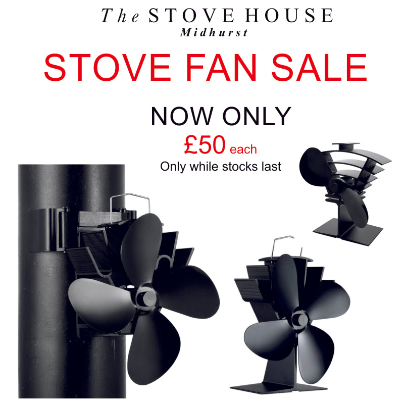 REDUCED NOW £50.00 EACH!! Valiant Heat Powered 4 & 2 Blade Stove Top Fans at The Stove House West Sussex 01730 810931