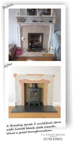Fireplace Before & After: Broseley Ignite 5 Multi Fuel Stove Installation by The Stove House 01730 810931