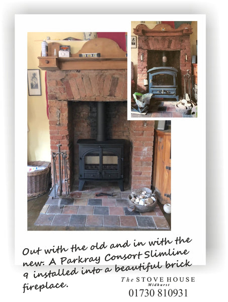 Parkray Consort 9 Slimline 2 Door Multifuel (Dual Fuel) Stove Supplied and installed by The Stove House, between Chichester and Haslemere. 01730 810931