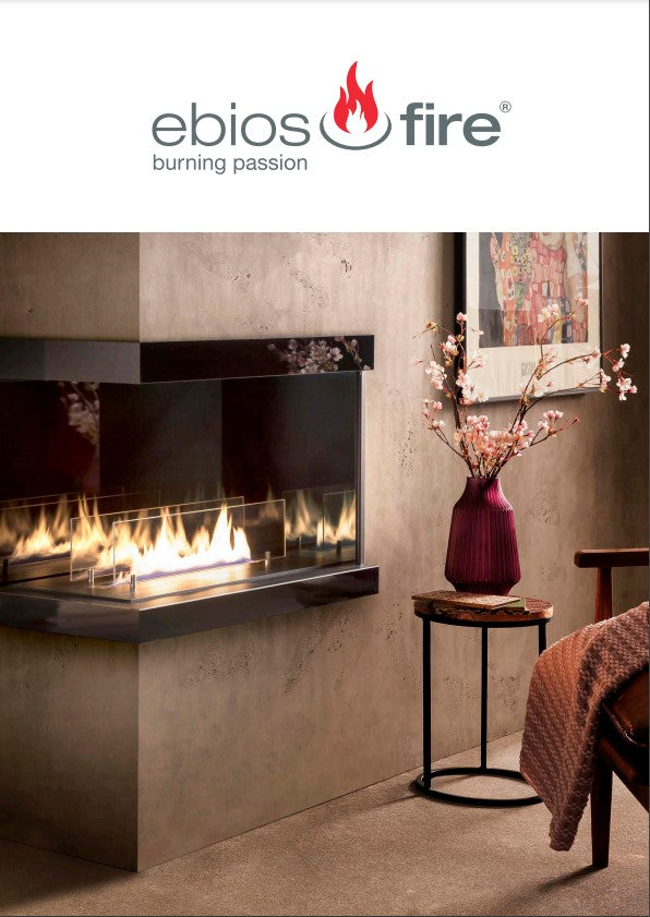 Ebios fire bioethanol modern fires and stoves for inside and outside. At The Stove House 01730 810931