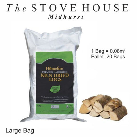 kiln dried large bags of logs at The Stove House in Midhurst 01730 810931
