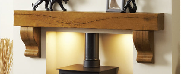 Wooden Fireplace Beam and Corbels