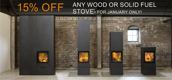 15% off wood and solid multi fuel stoves at The Stove House - your local stove shop in West Sussex 01730 810931