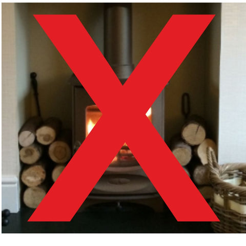 Do not stack wood next to you fire to dry out. Explained by The Stove House 01730 810931