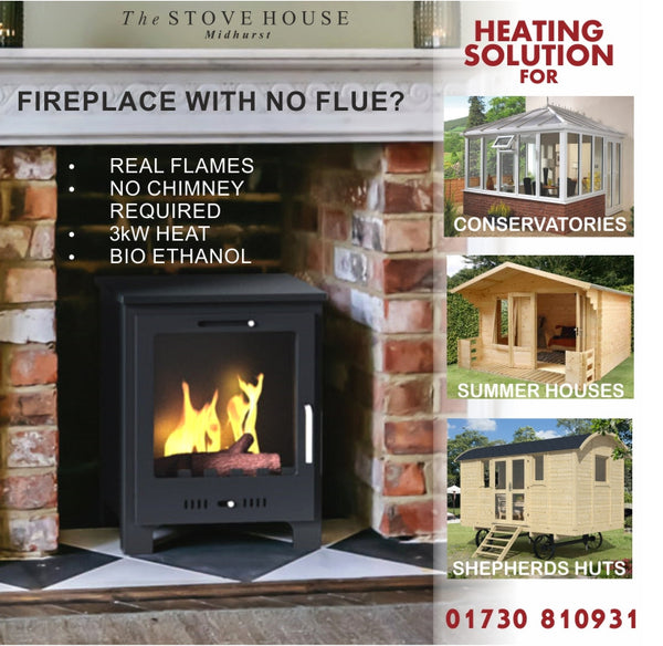 Malvern Bioethanol Stove Medium / No Flue Required - The Stove House Midhurst Nr Chichester West Sussex