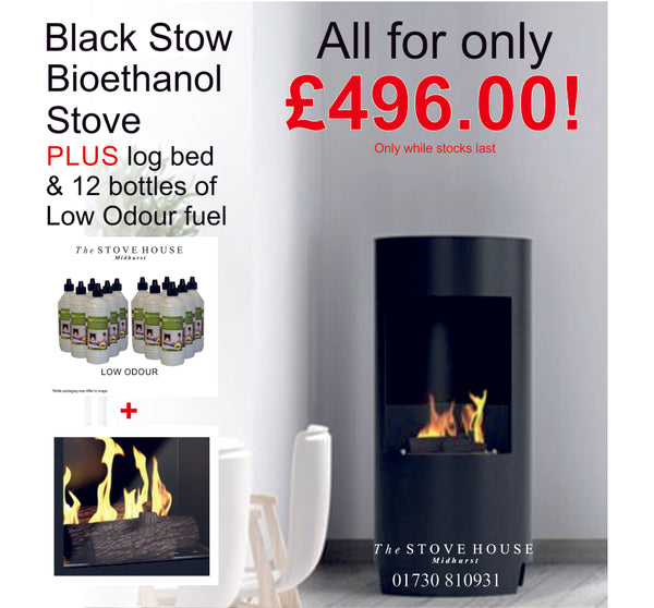Black Stow Bioethanol Stove Offer - With Log Bed & Low Odour Fuel - The Stove House Midhurst Nr Chichester West Sussex