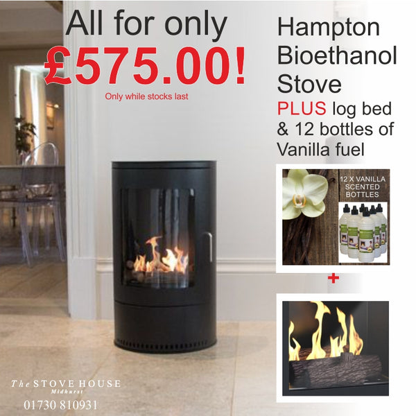 Hampton Bioethanol Modern Stove With Fuel & Log Bed Offer - The Stove House Midhurst Nr Chichester West Sussex