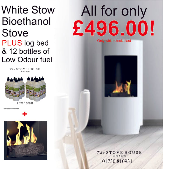 White Stow Bioethanol Stove Offer - With Log Bed & Low Odour Fuel - The Stove House Midhurst Nr Chichester West Sussex