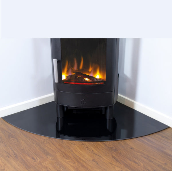 6 mm Black Glass Corner Hearth 875 mm x 875 mm - The Stove House Midhurst Nr Chichester West Sussex