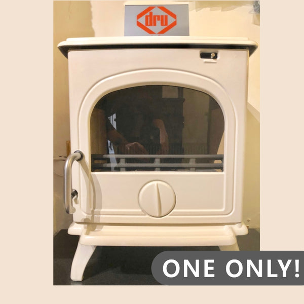 Ex Display Dru 44 Multi-fuel Cream White Enamel Stove - The Stove House Midhurst Nr Chichester West Sussex