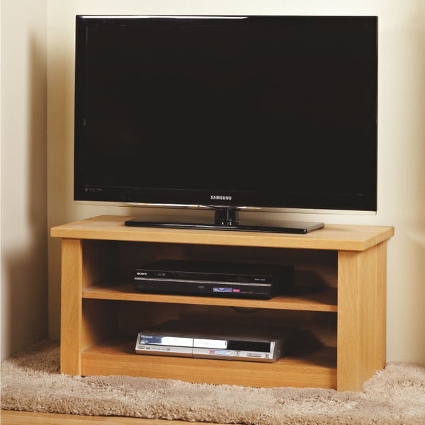 Bespoke Prime Oak TV Unit with shelves - The Stove House
