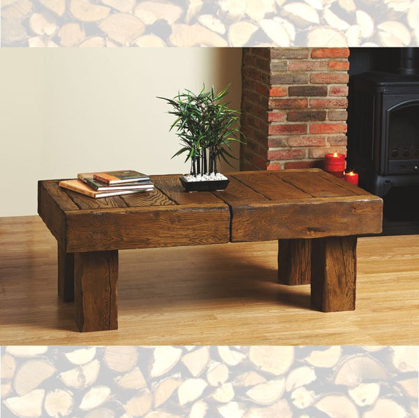 Bespoke Solid Beam Oak Side Table - The Stove House