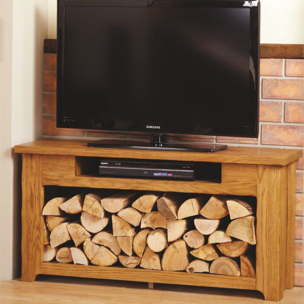 Bespoke Rustic Oak TV Unit with Log Store - The Stove House