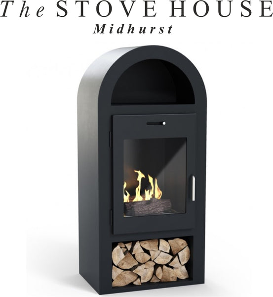 Salcombe Bioethanol Stove with Warming Shelf / No Flue Required - The Stove House Midhurst Nr Chichester West Sussex