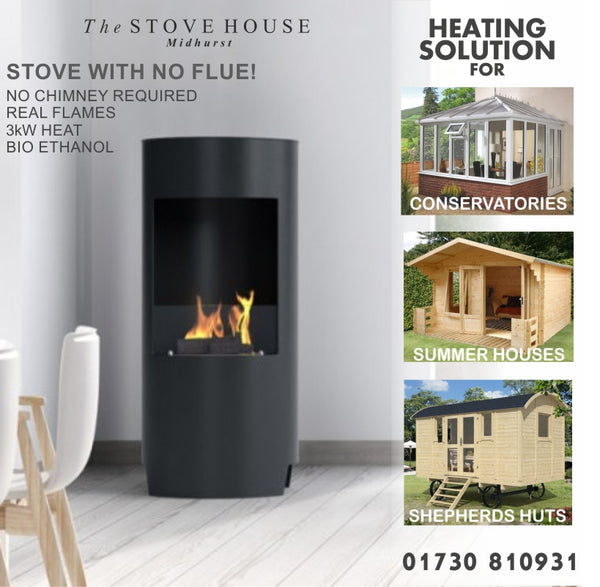Bioethanol Open Modern Stove - No Flue Required - The Stove House Midhurst Nr Chichester West Sussex
