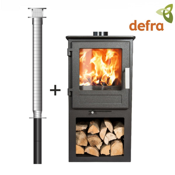 2. Stove Package Deal - 4.5kW budget stove with log store and installation kit - The Stove House Midhurst Nr Chichester West Sussex