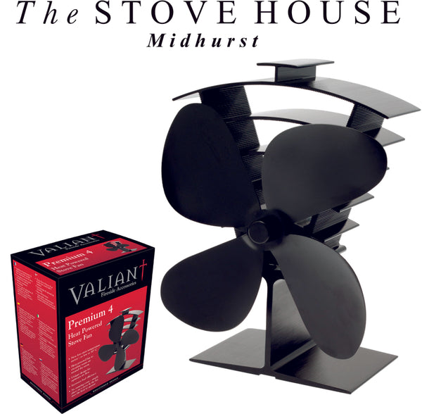REDUCED NOW £50.00 EACH!! Valiant Heat Powered 4 & 2 Blade Stove Top Fans - The Stove House Midhurst Nr Chichester West Sussex