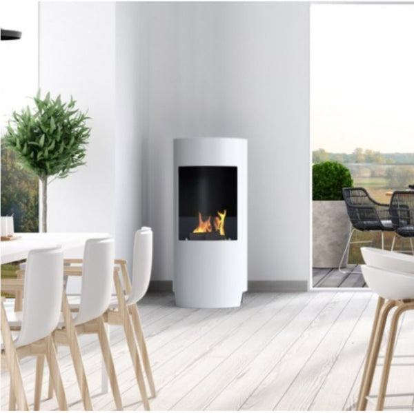 White Stow Bioethanol Open Modern Stove - No Flue Required - The Stove House Midhurst Nr Chichester West Sussex