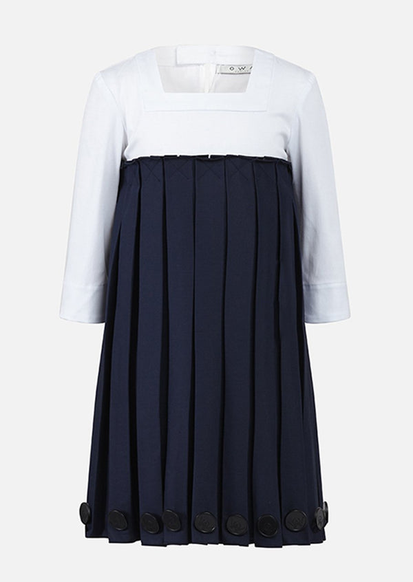 Owa Yurika Aya Pleated Navy Dress