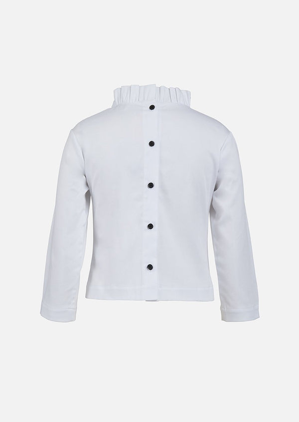 Owa Yurika Kaori Pleated Collar Top White