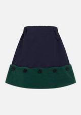 Owa Yurika Selena Velvet trim Skirt Navy Green