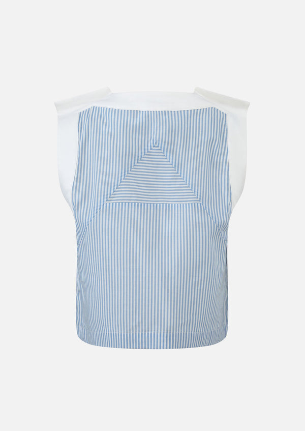 Owa Yurika Mako Girls Stripe Blue Top Cotton Linen