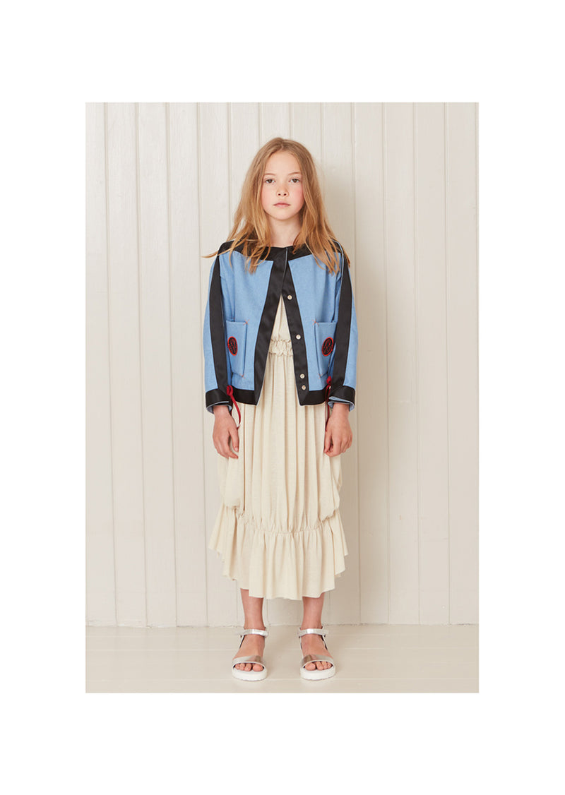 Owa Yurika Stella Girls Children Short Denim Kimono Blue