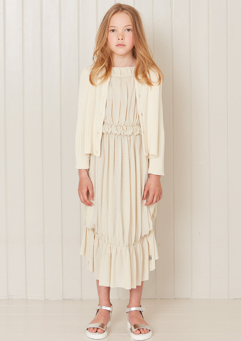 Owa Yurika Sasha girls summer gathered cream dress